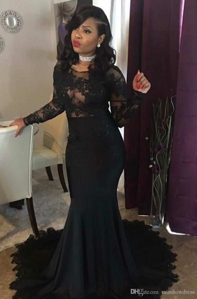 40c399e2b8b 2018 Sexy Black Sheer Jewel Neck Mermaid Prom Dresses Elegant Lace  Appliques Backless Illusion Long Sleeves Evening Gowns Plus Size Vestidos
