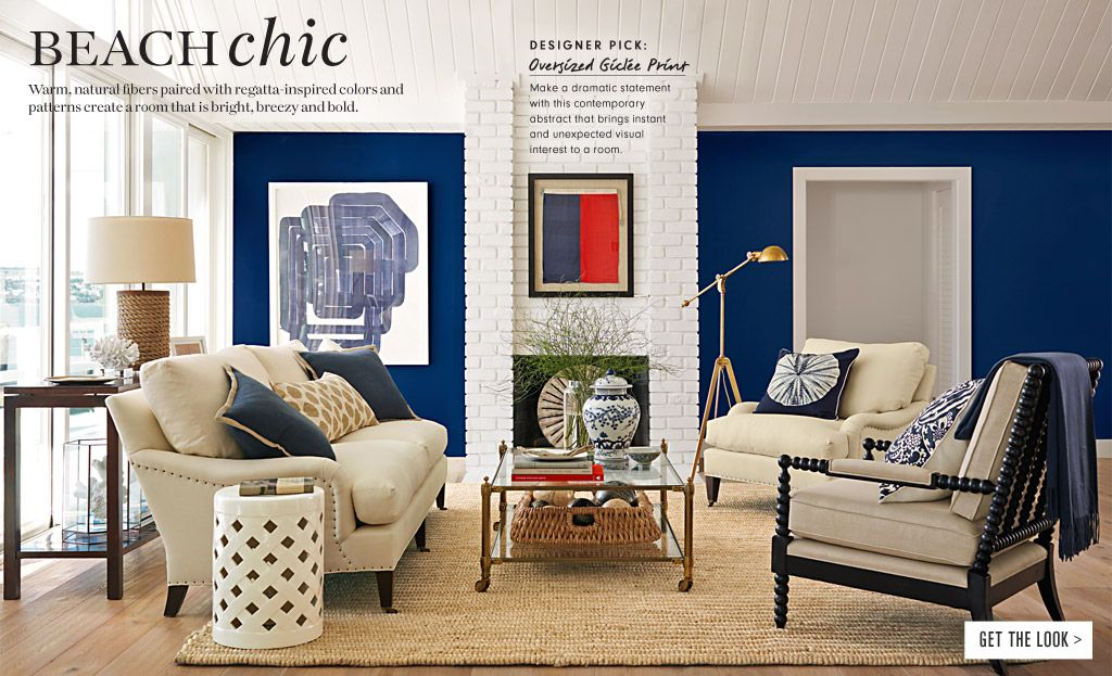 Nautical Theme For Living Room (Williams Sonoma Home). Love Blue Wall,