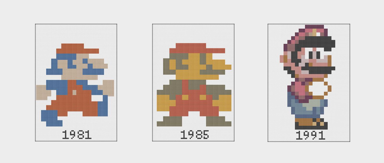 Patrón de punto de cruz de Super Mario de nintendo a lo largo de sus ...