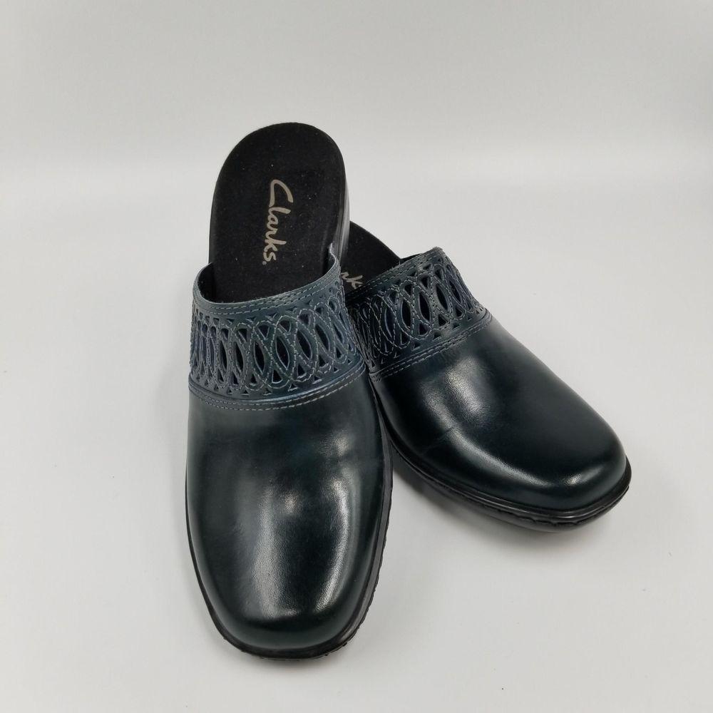 Women's Shoes Clarks Black Leather Comfortable Slides Mules Clogs Sandals Heels Shoes 10m