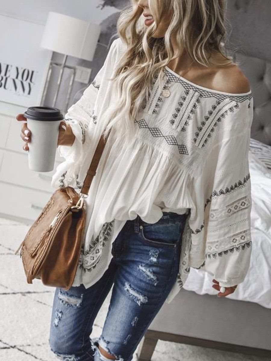 Off Shoulder Sexy Patchwork Cotton-Blend Shirts & Tops