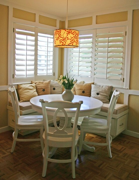 Beauty 4 Ashes Inspiration Files 15 Pretty Breakfast Nooks  For Gorgeous White Dining Room Table With Bench And Chairs Decorating Inspiration