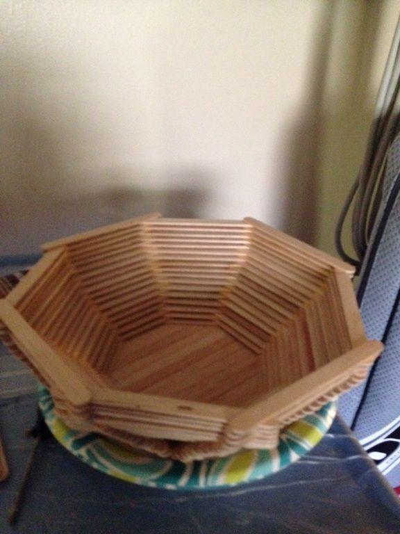 Wooden Craft Sticks And A Glue Gun DIY Bowl Stick Ideas