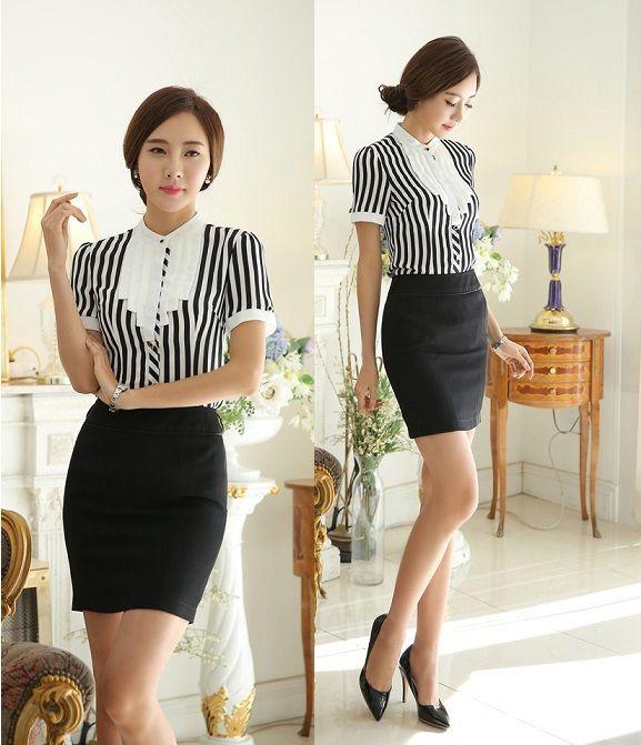 3b024a143 Uniforme de gala estilo volantes rayas de empresas para mujeres trajes Tops  y Mini falda para mujer trajes de falda para mujer oficina blusa camisas ...
