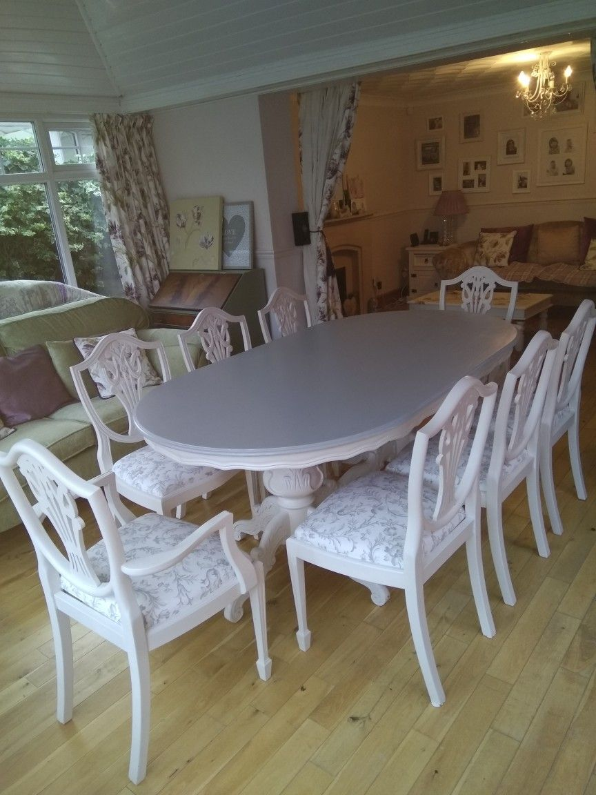 Upcycled Table And Chairs In Grey And White White Dining Room Sets Table And Chairs Dining Table Makeover