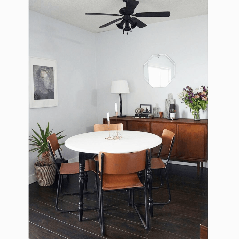 An 80s Ceiling Fan Gets A Spray Paint Makeover In This Dining Room Remodel