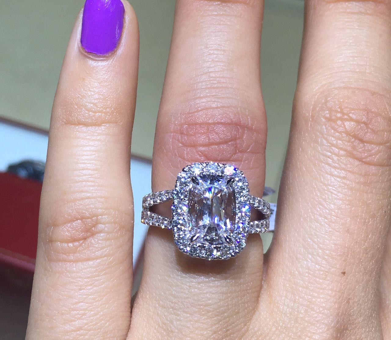 Henri Daussi AU100A Diamond Halo Engagement Ring | Engagement, Ring ...