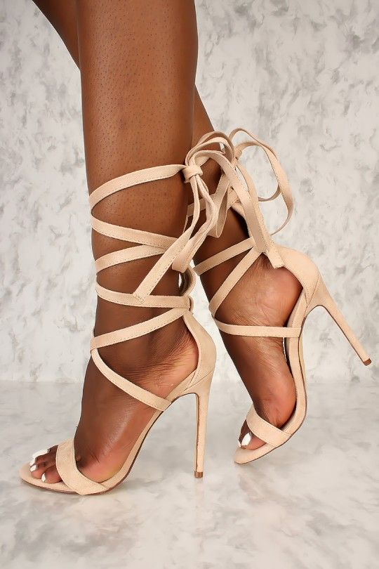 694e31f7db Sexy Nude Strappy Lace Tie Open Toe Single Sole High Heels Faux Suede |  Footwear | Heels, Shoes heels boots, Prom heels