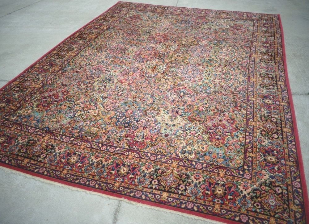 Antique Original Karastan Collection 10 X 14 Kirman Multi Color Panel Rug 717