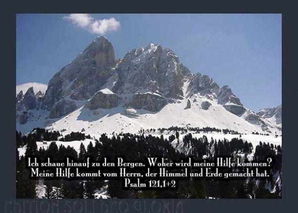 Christliche postkarte 12 psalm 121 winter berge - Christliche weihnachtskarten ...