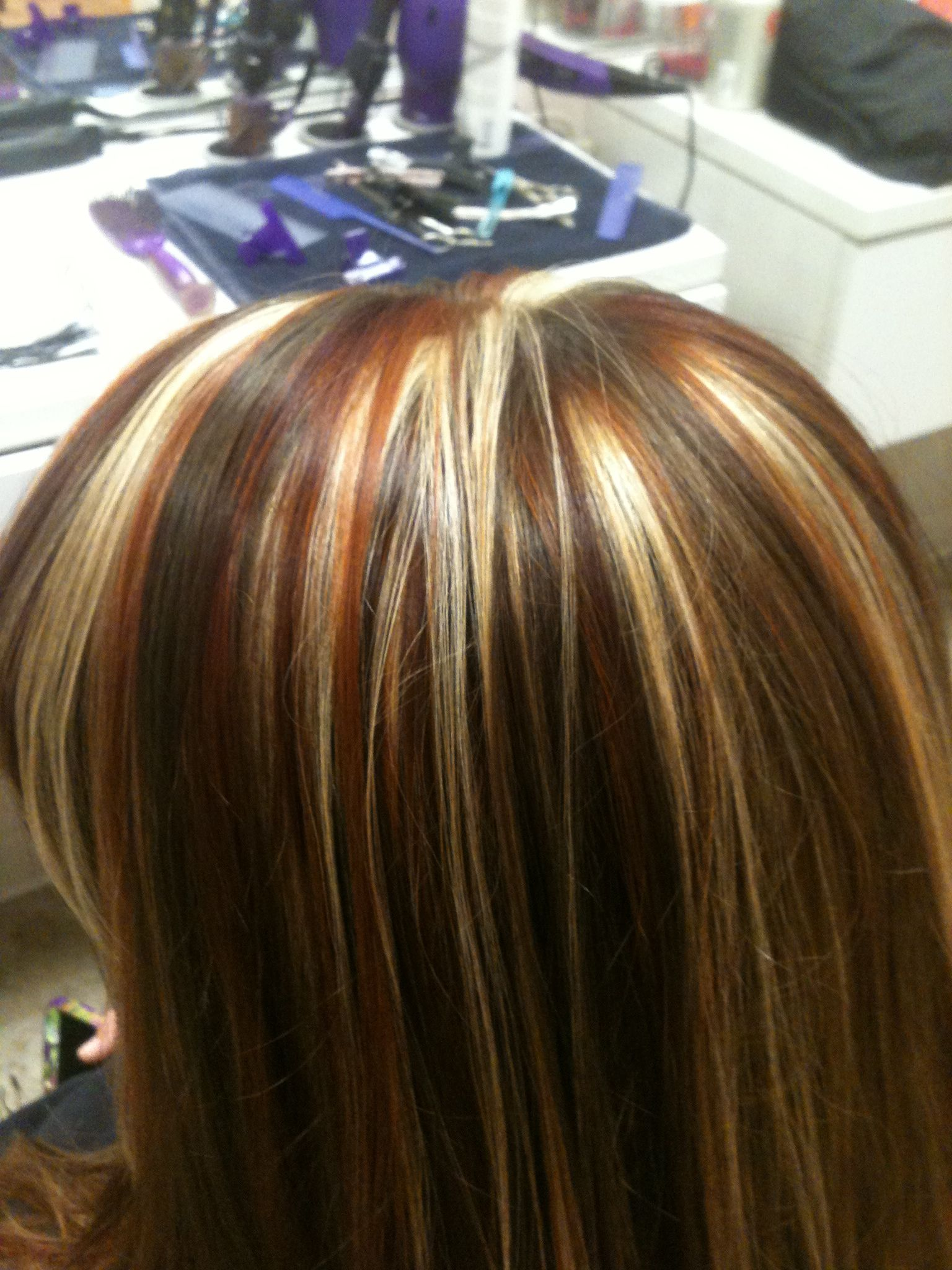 Tri Colored Highlights Red Copper And Blonde Highlights Stylist