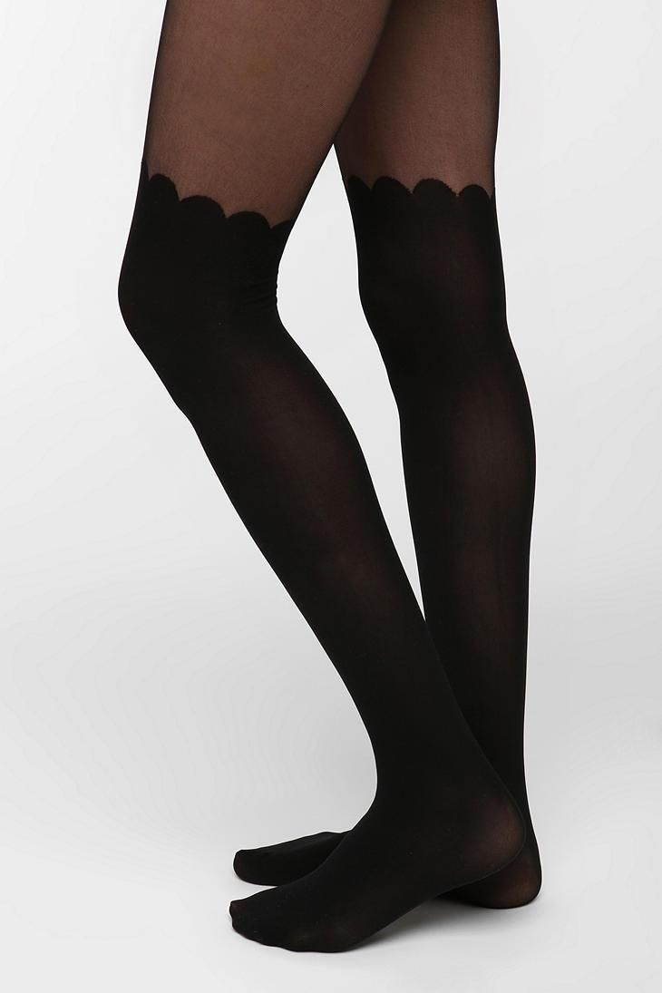 bf450acb82777 Scalloped Faux Thigh High Tight #urbanoutfitters Thigh High Tights, Thigh  Highs, Knee Socks