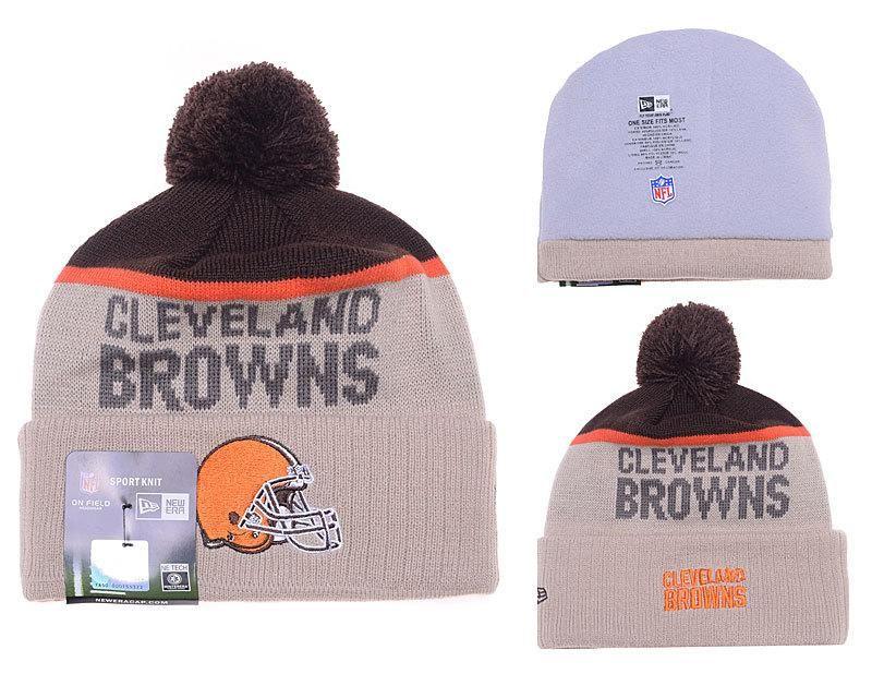 Mens Womens Cleveland Browns New Era 2016 NFL Gray Sport Vivid Team Logo  Cuff Knit Pom Beanie Cap - Grey   Brown 4c8969d8a