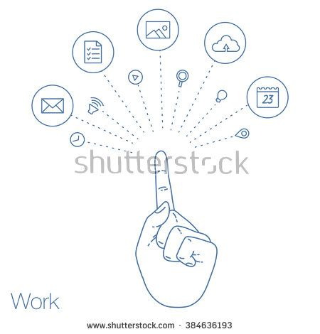 Hand keeps mobile with set of line icons. Demonstration screen of display for market. Internet trends and social network in the smartphone. Vector flat illustration of cloud service and technology.