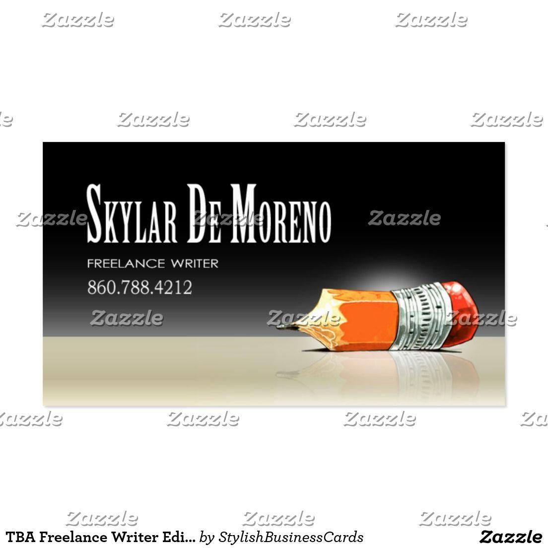 TBA Freelance Writer Editor 5 Stylish Business Card | Business Cards ...