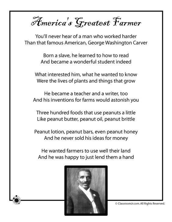 Kids Poems for Black History Month Kids Poem, George Washington