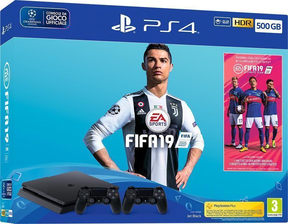 Console Sony Playstation 4 500gb F Chassisslim Nero Black Fifa 19 2 Ds4 V2 Playstation Fifa Nero