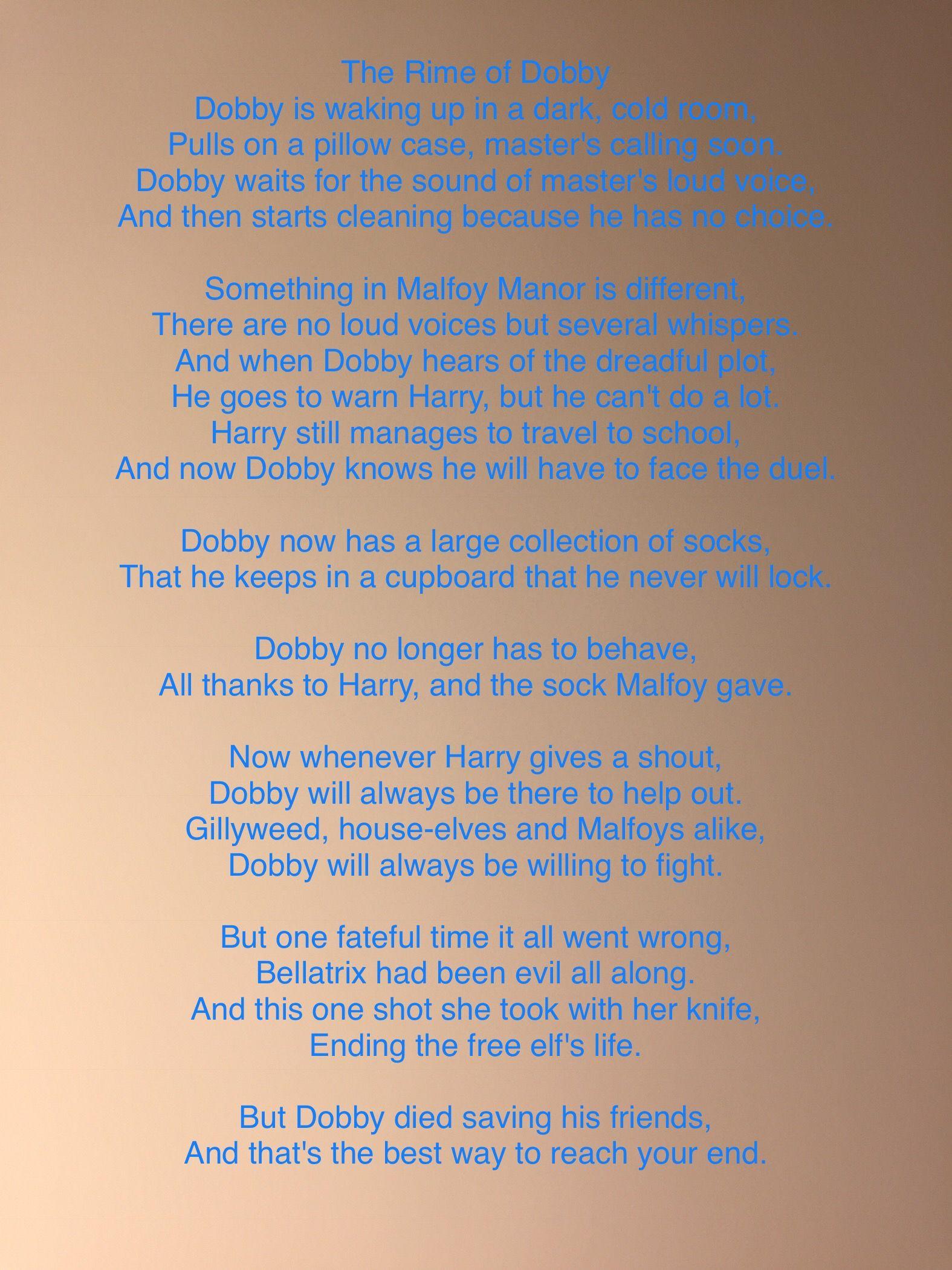 Dobby poem Harry potter funny, Harry potter, Harry