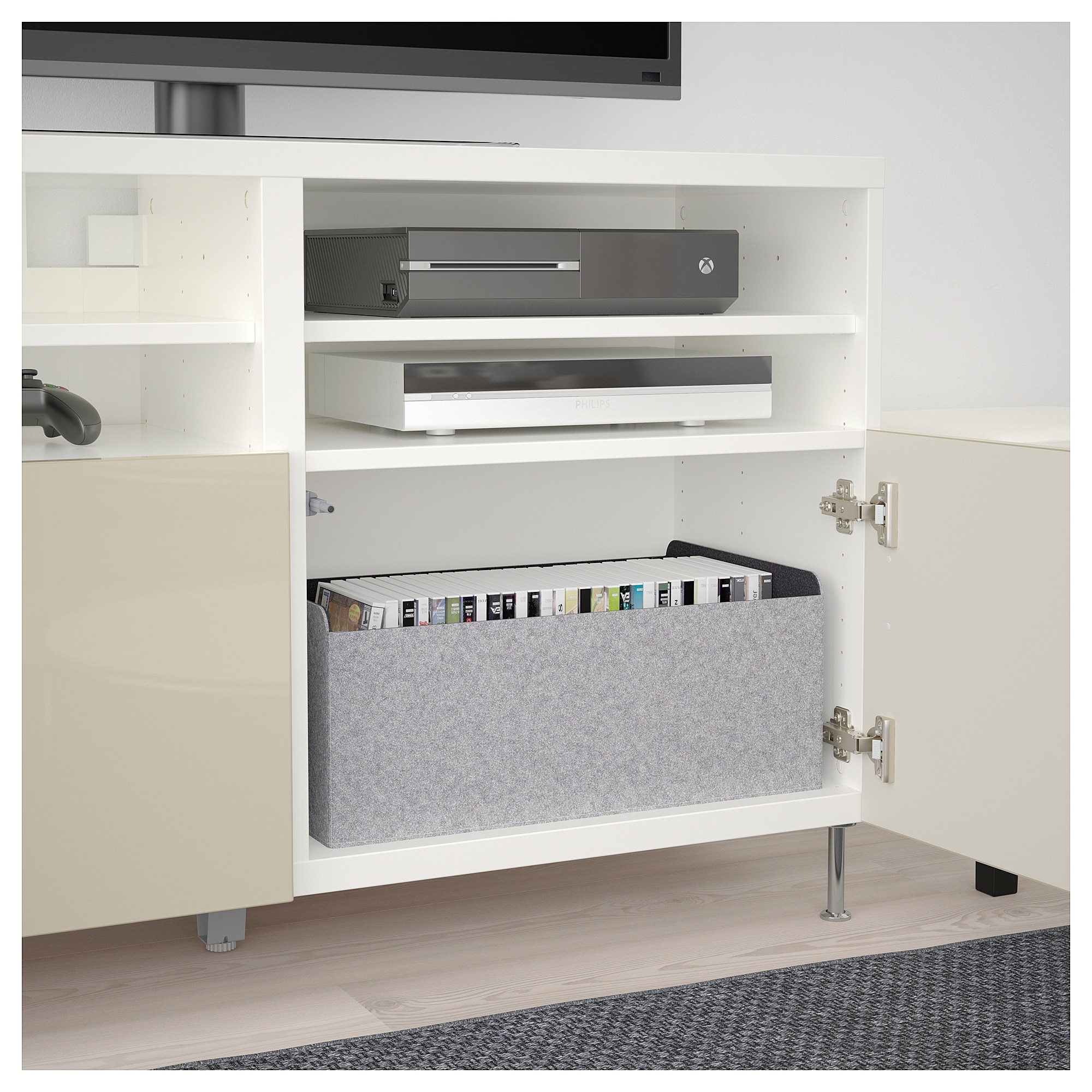 IKEA BESTA White, Selsviken/stallarp High-Gloss/beige TV