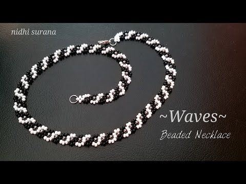 ️Waves, Seed bead Necklace    How to make Curvy Necklace/ Collar Tutorial DIY (0384)