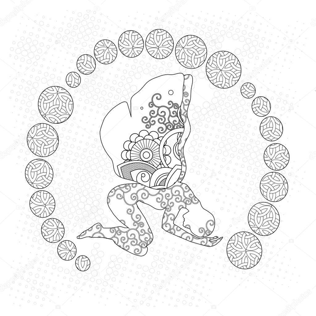 Soyut Kelebek Kadın Boyama Sayfası Stok Imaj Color Me Yoga