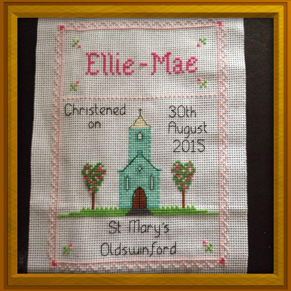 Baby Christening Baptism Girl Cross Stitch Card Kit by Florashell