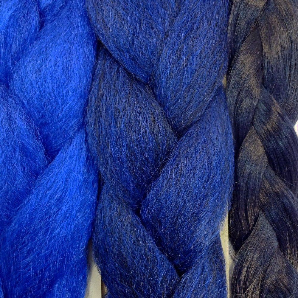 Kanekalon Color Comparison From Left To Right Navy Blue Midnight