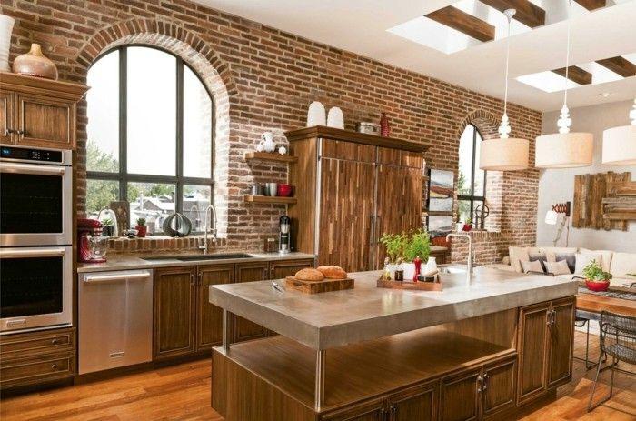 Eldorado Küchen ~ Wohnideen küche backsteinwand ud funktionale kücheninsel küche