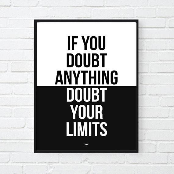 motivational artwork for office doubt your limits motivational print inspirational poster office decor