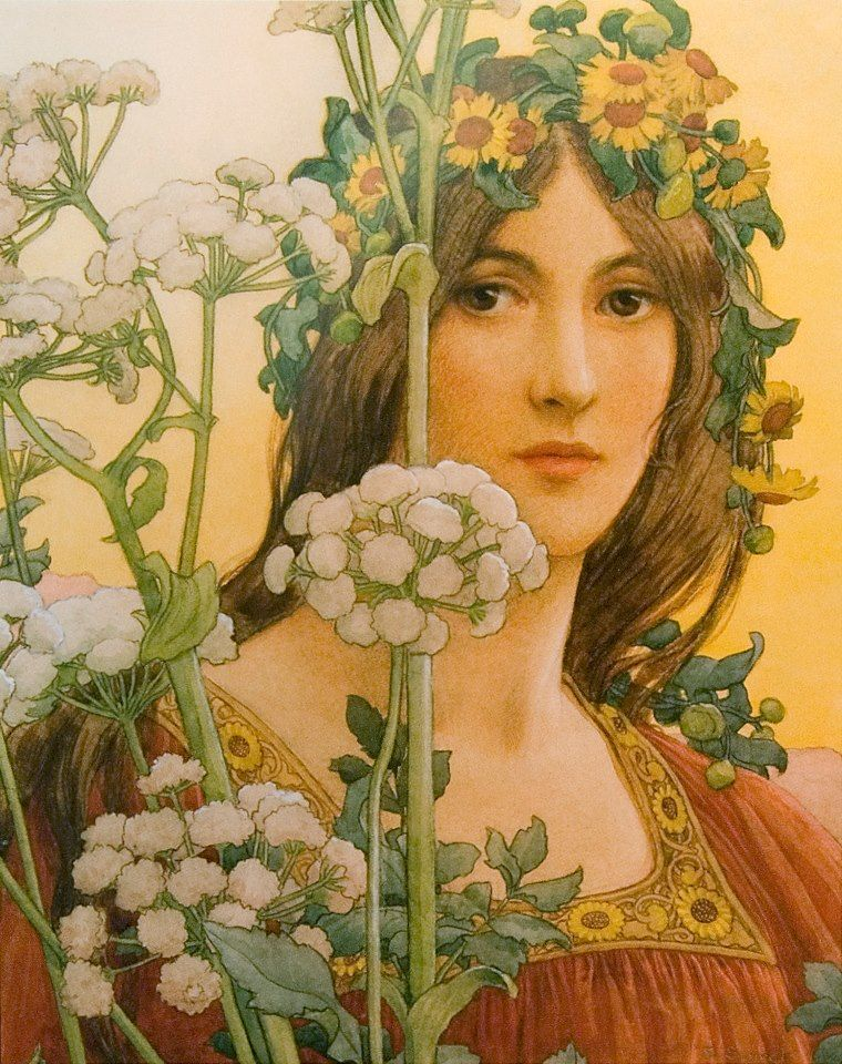 Élisabeth Sonrel (French, 1874–1953): Our Lady of the Cow Parsley. Watercolor with Bodycolor over pencil on paper. 45 x 38 cm (18 x 15 inches). Private Collection.