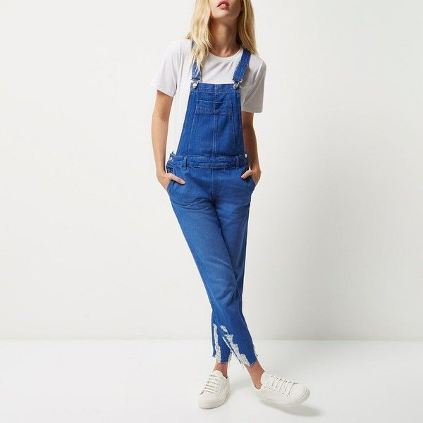River Island Blue denim ripped hem slim overalls (£66) ❤ liked on Polyvore featuring jumpsuits, rompers, denim rompers, distressed overalls, blue overalls, blue rompers and denim bib overalls