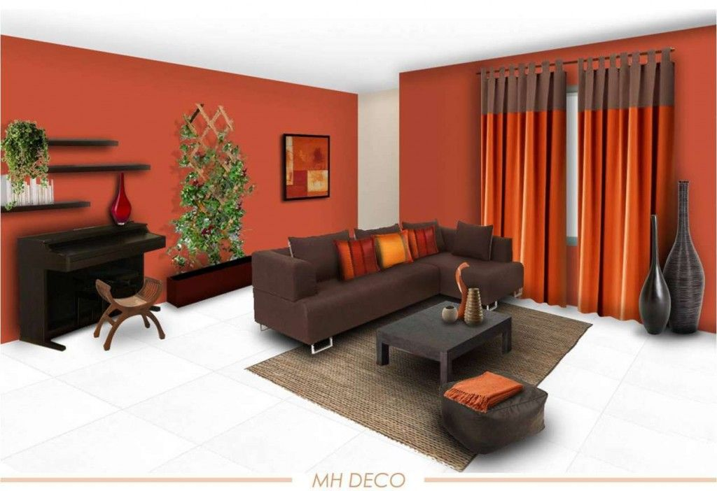 Decoration Orange Wall Paint Color Schemes Living Room With Grey Combine Curtain Also Dark Brown Sofa Square Rug On White Flooring