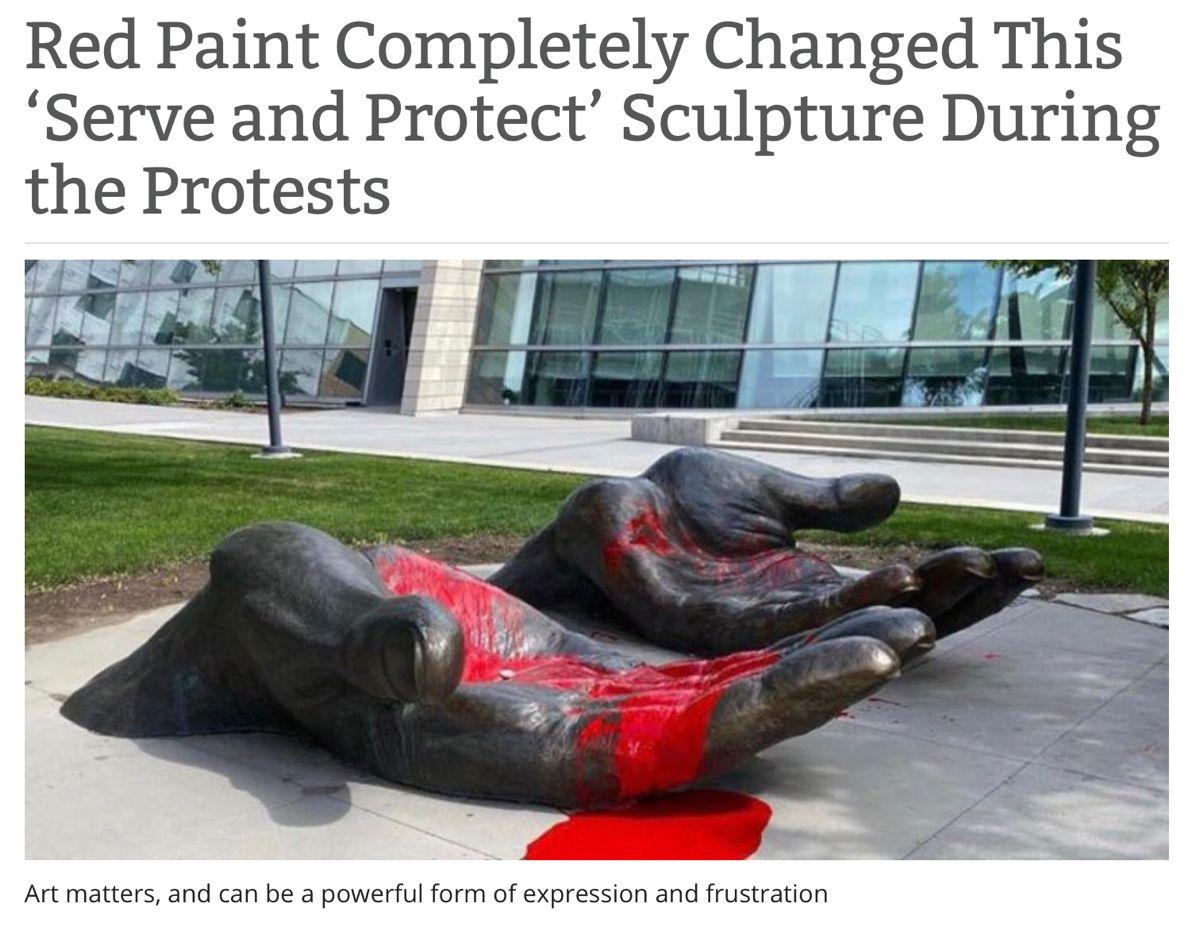 George Ragland Sculpture In Salt Lake City Utah Lp Sculpture Red Paint Protest Art