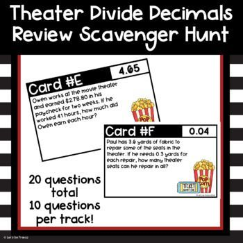 Theater Dividing Decimals Scavenger Hunt | Word problems ...