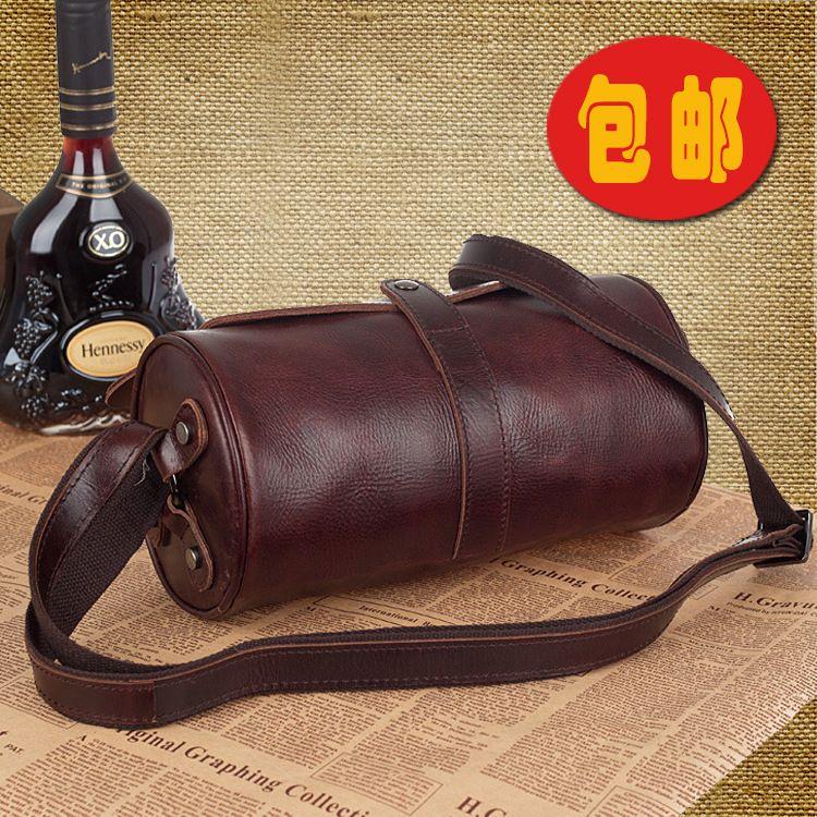 Full Grain Leather Men Tote Bag Retro Shoulder Bag