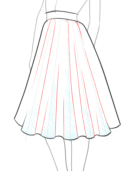 How To Draw A Flare Full Skirt Step By Step Tutorial 8 Fashion Illustrations Techniques Drawing Anime Clothes Dress Design Sketches