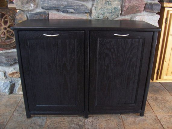 Amazing New Black Painted Wood Double Trash Bin Cabinet Garbage Can Tilt Out Doors  Reserved Listing For Mm5702 | Trash Bins, Tilt And Doors