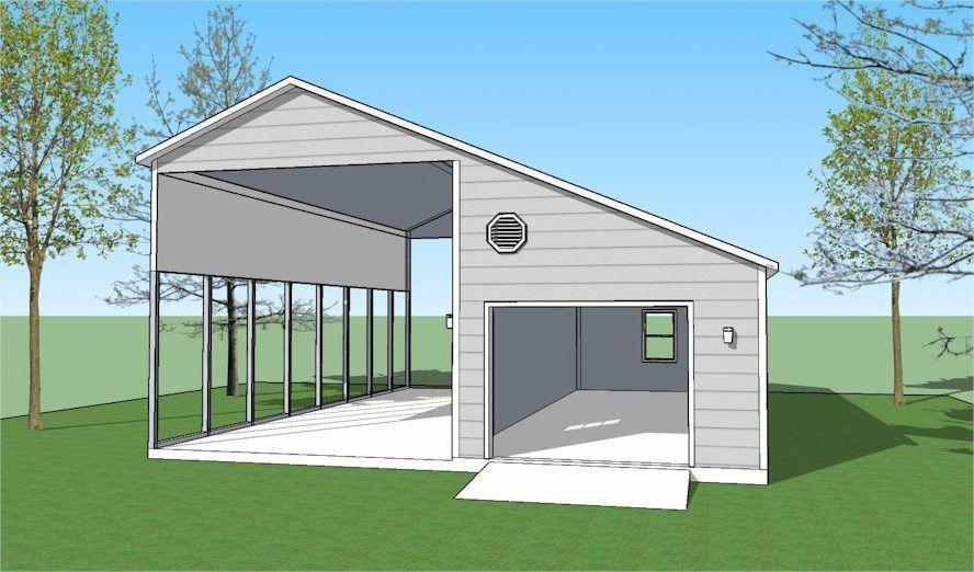 Basic RV shelter with garage. rvsetupinyard Rv shelter