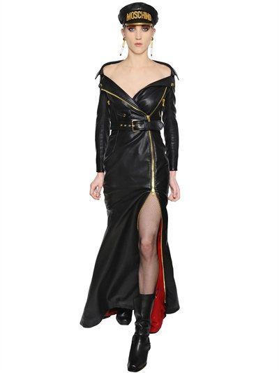 Moschino Biker Long Faux Leather Dress Dresses Black Luisaviaroma