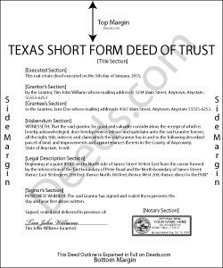 Short Form Deed Of Trust Form Texas  DeedsCom  Example Of Deed