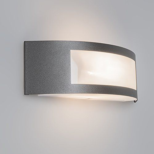 QAZQA Design, Modern Outdoor Wall Light Sapphire Dark Grey for Outdoor use, Polyester, Stainless steel, Rectangular / Suitable for LED E27 Max. 1 x 14 Watt