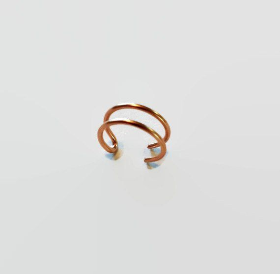 Rose Gold Double Nose Ring - Fake Double Nose Ring - Faux Double Piercing - Fake Double Piercin - Faux Nose Ring #doublenosepiercing