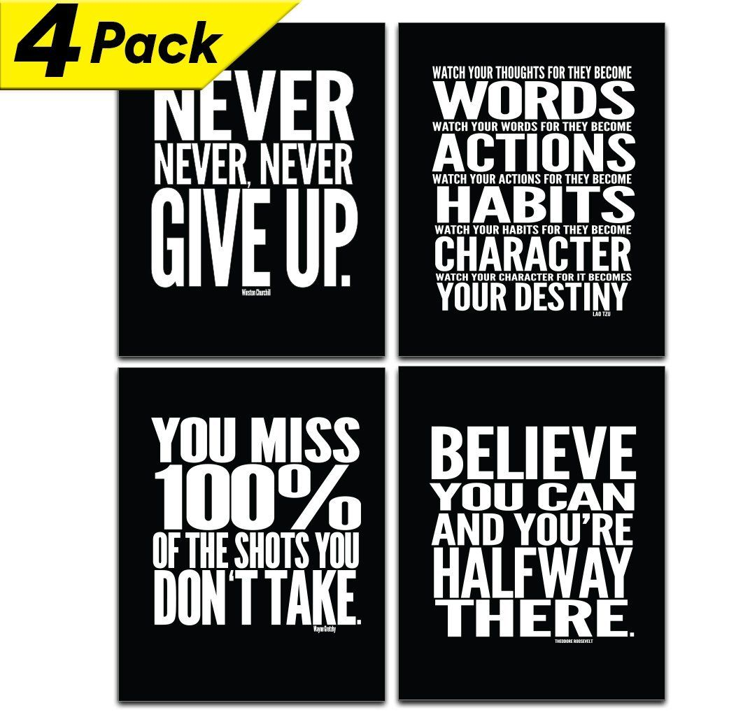 Motivational inspirational gym workout poster u x u set of