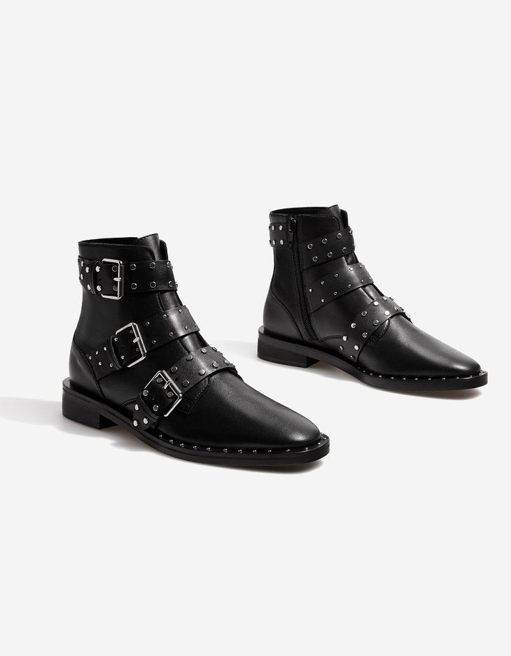 bottines clous cuir bottes et bottines stradivarius france chaussure pinterest clous. Black Bedroom Furniture Sets. Home Design Ideas