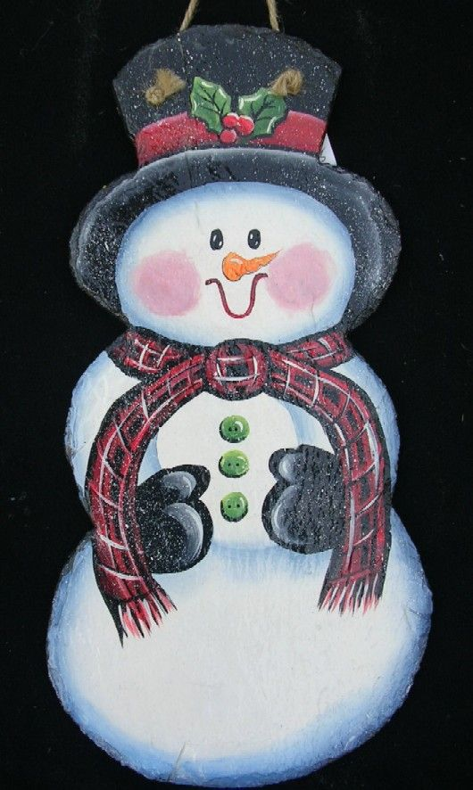 Holiday Painting On Slate Slate Paintings And Signs For The Winter Holiday Painting Tole Painting Patterns Christmas Paintings