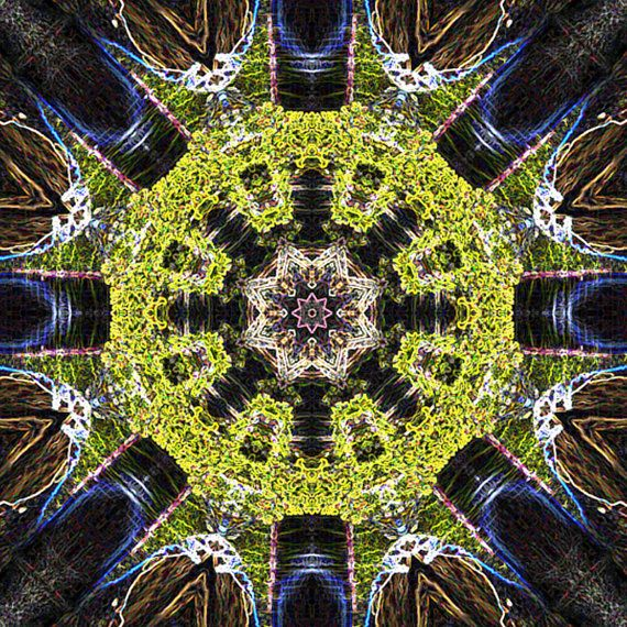 Neon #Glacier Mandala  I love mandalas!  I created and modified this #mandala from a photo of #Lake McDonald Glacier National Park.   This is digital mandala art ready to down... #download #digital #kaleidoscope #art #printable #lake #glacier
