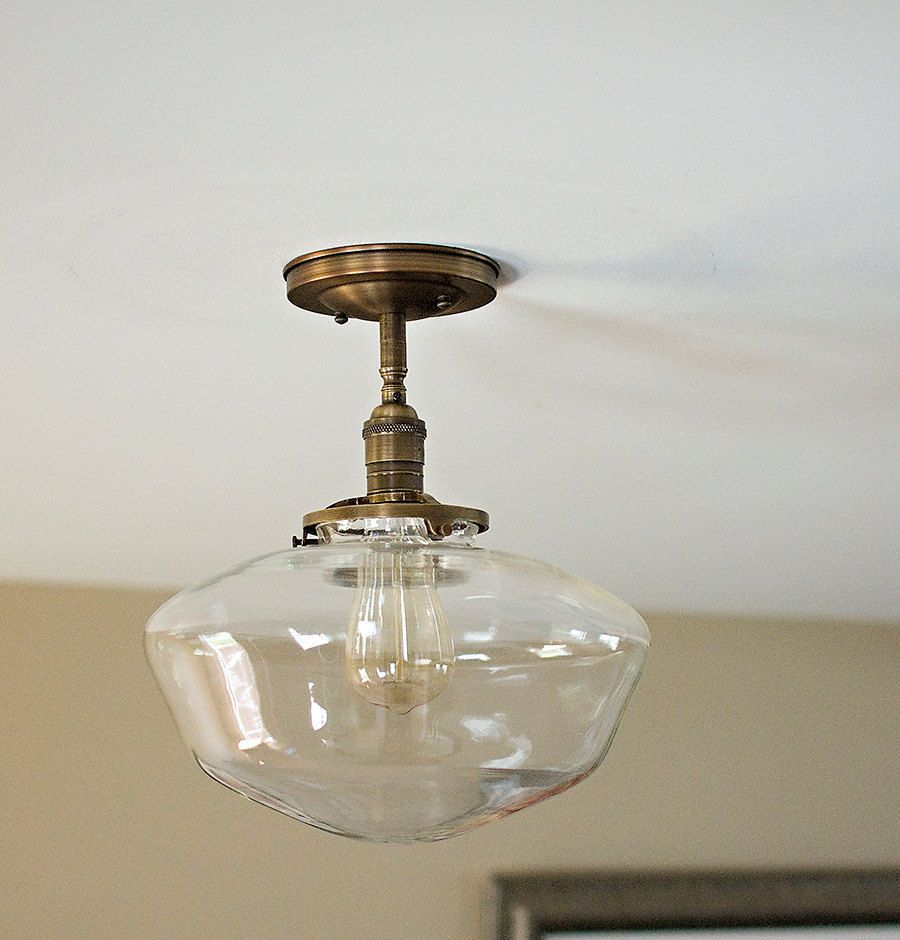 Large Clear 12 Schoolhouse Shade Flush Mount Or Semi Flush Mount