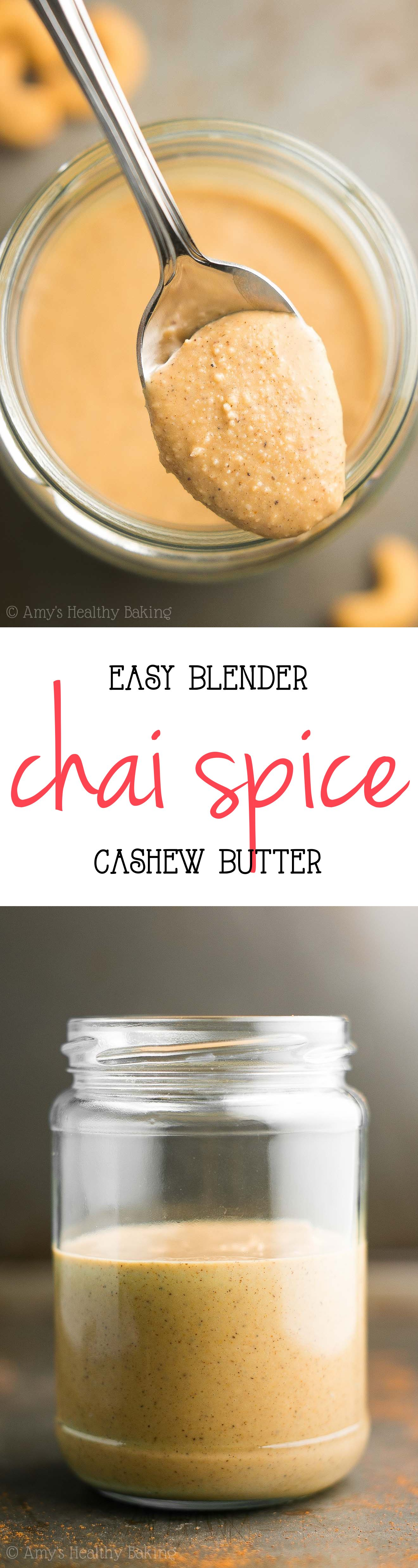 Easy Blender Chai Spice Cashew Butter -- you just need 3 ingredients & 10 minutes! This tastes SO much better than store-bought for half the price!