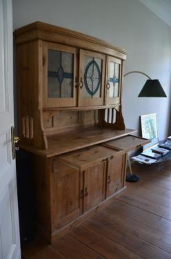 1) Vitrinenschrank, Küchenschrank, Küchenbuffet, Landhausstil, Holz ...