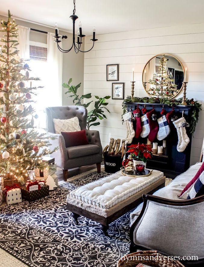 astounding black white christmas living room | Black White and Burgundy Christmas Decor | | CHRISTMAS ...